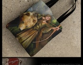 Sabine... 15x15 inch Fully Printed Tote... Medieval Archer Woman with Brown Bear... Wildlife and Fantasy... Double-Sided Printing