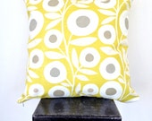 Lime and Grey Retro Mod Flower Cushion Cover