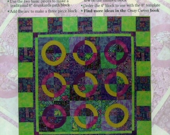 "Elisa's Backporch Rainbow Block 8"" Template Acrylic Quilting Quilt Block Drunkards Path"