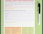 Personalized / Custom Dry Erase / Wipe-Off Babysitter Emergency Notes / Instructions with Magnets and Velcro