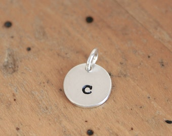 Sterling Silver small charm custom stamped - letter or number - add on