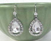 Here comes the bride sterling silver pear shaped rhinestone tear drop earrings bridesmaid mother of the bride