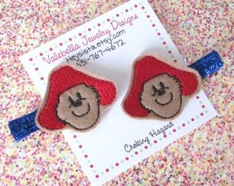 Hairclip Beary Cute red hat bear blue glitter clippie ONE CLIP teddy bear