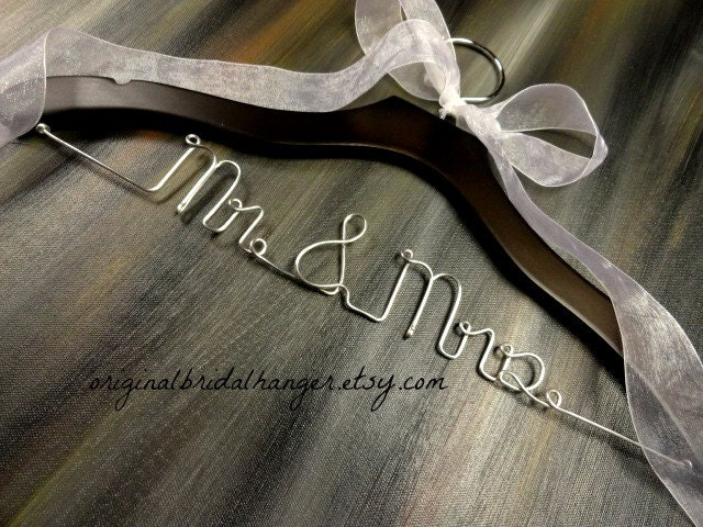 Mr and mrs hanger bridal hanger wedding hanger wedding dress for Mrs hangers wedding dress