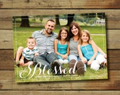 Blessed Christmas card, holiday photo card, printable blessed Christmas card, famiy photo card, printable or printed cards