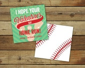 Printable baseball Valentine's Day Card - home run sports valentine - custom classroom valentine - instant download - editable pdf