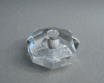 Vintage Candle Holder Multi Faceted Lead Crystal