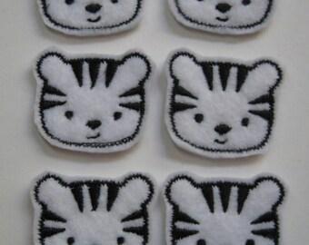 White Tiger Faces Felt Applique - Embellishments  - 089