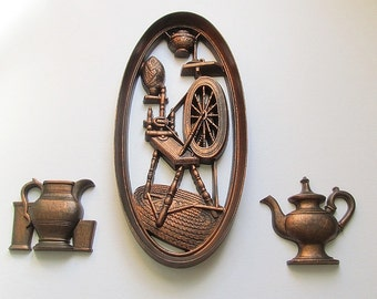 Vintage Wall Plaques, Kitchen Pictures, Spinning Wheel Wall Decoration, Teapot,  Kitchen Wall Hangings