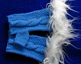 Blue Fingerless Handknitted Goves with White Faux Fur Trim