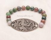 Butterfly pendant charm bracelet, boho chic jewelry, jade stone stretch bracelet, stackable bracelet, stone stretch bracelet, boho chic