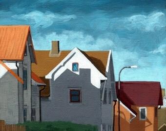 Row Houses - suburban street art print from original oil painting