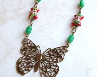 1/2 Price Clearance Sale- Filigree Butterfly Necklace- Vintage Beads