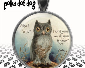 Whooo's There? -- Vintage Owl Greeting Card Large Glass-Covered Pendant