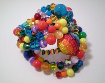 Rainbow Bracelet with Memory Wire, Glass Beads, Plastic Beads, Colorful