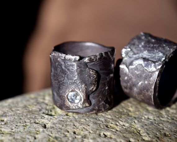 Wedding Rings His And Hers Wide Artisan White Sapphire Black