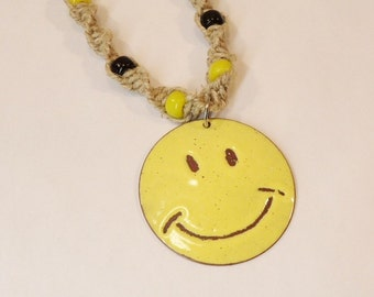 Smiley Face Necklace Copper enameled smiley face / hemp necklace / yellow
