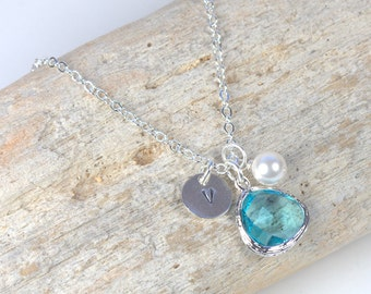 Personalized March Birthstone Silver Necklace, Aquamarine Necklace, March Birthday Jewelry, Personalized Silver Necklace #869