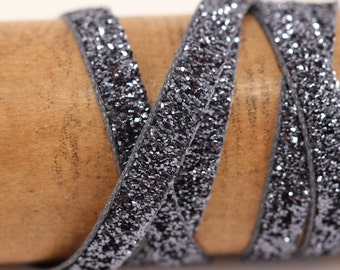 Metallic Velvet Ribbon - Gunmetal Gray  - 5 Yards - sparkle glitter trim