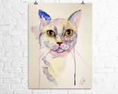 One original 8 x 10 watercolor pet portrait (custom listing)