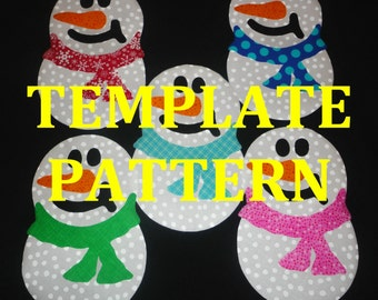 PDF Applique TEMPLATE Pattern...SNOWBALL Snowman With Scarf ....New