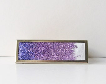 Amethyst ombre brooch, Purple glitter pin, Purple gradient brooch, Rectangular brooch, Sparkling brooch, Glitter jewelry