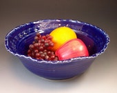Large FlowerDesign Pottery Serving Bowl in Rich Royal Blue