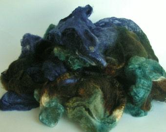 Mawata Silk Hankies Hand Painted MOONLIGHT SONATA Knitpack 42 grams Silk Hanky  Knit Spin Felt Fusion Crafts