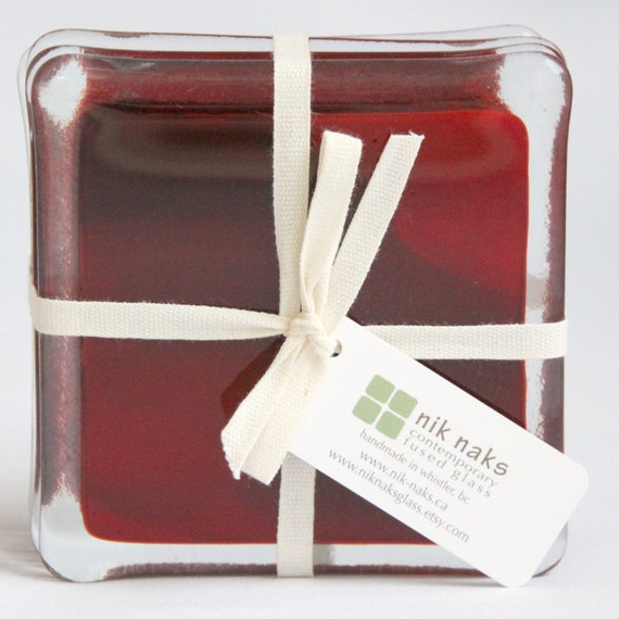 fused glass coasters. dark red glass coasters. ruby red glass coasters. set of 4.