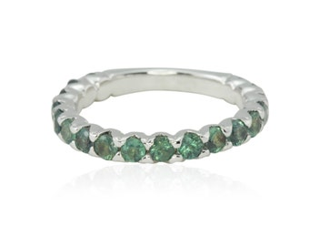 Alexandrite Ring, Prong Set Alexandrite Almost Eternity Band - 3mm wide - June Birthstone - LS1651