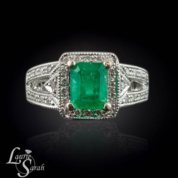 Emerald and Diamond Ring with Split Shank and Single Halo - LS286
