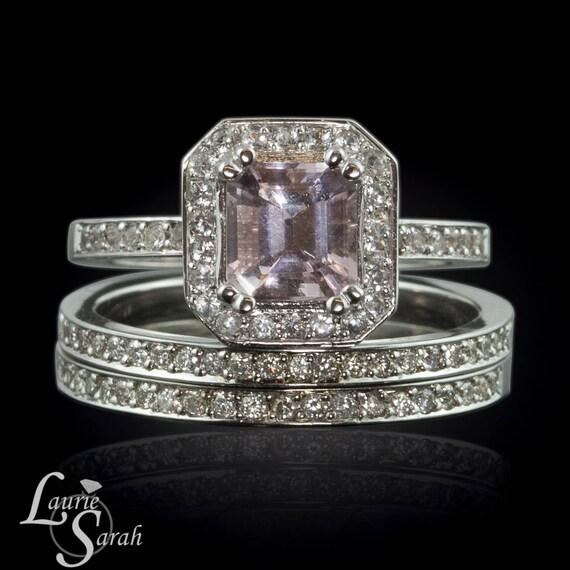 Morganite Rings in White Gold , Asscher Cut Morganite Engagement Ring, Diamond Alternative Ring, White Sapphire Wedding Band - LS1877