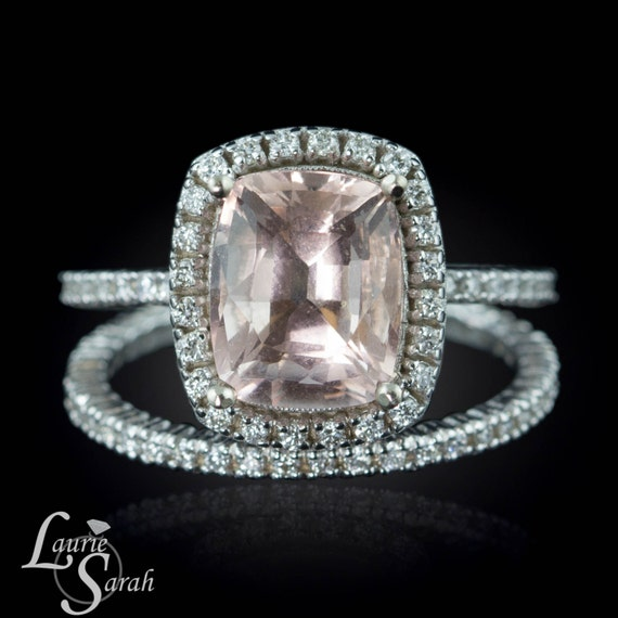 Morganite White Gold Ring, Morganite Cushion Cut Ring, Morganite Engagement Ring, White Gold Diamond Wedding Band - LS2111