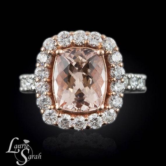 Morganite Engagement Ring Diamond Halo Engagement Ring