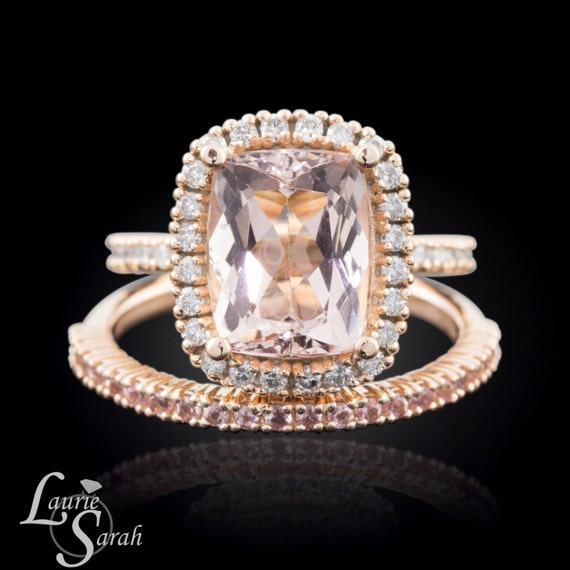 Morganite Wedding Set Rose Gold 3 carat Morganite Engagement