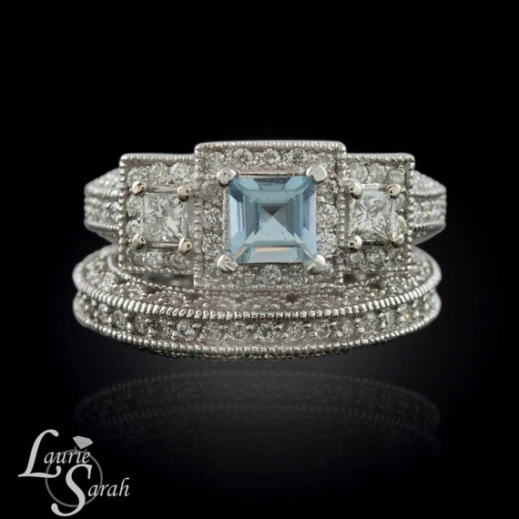 Aquamarine Engagement Ring, Princess Cut Aquamarine and Diamond Wedding Ring Set with milgrain and filigree - LS1983