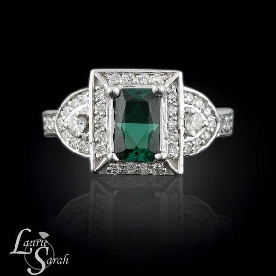Cushion Cut Engagement Ring, Green Tourmaline and Diamond Ring - 3 stone, pave halo, cushion cut - LS126