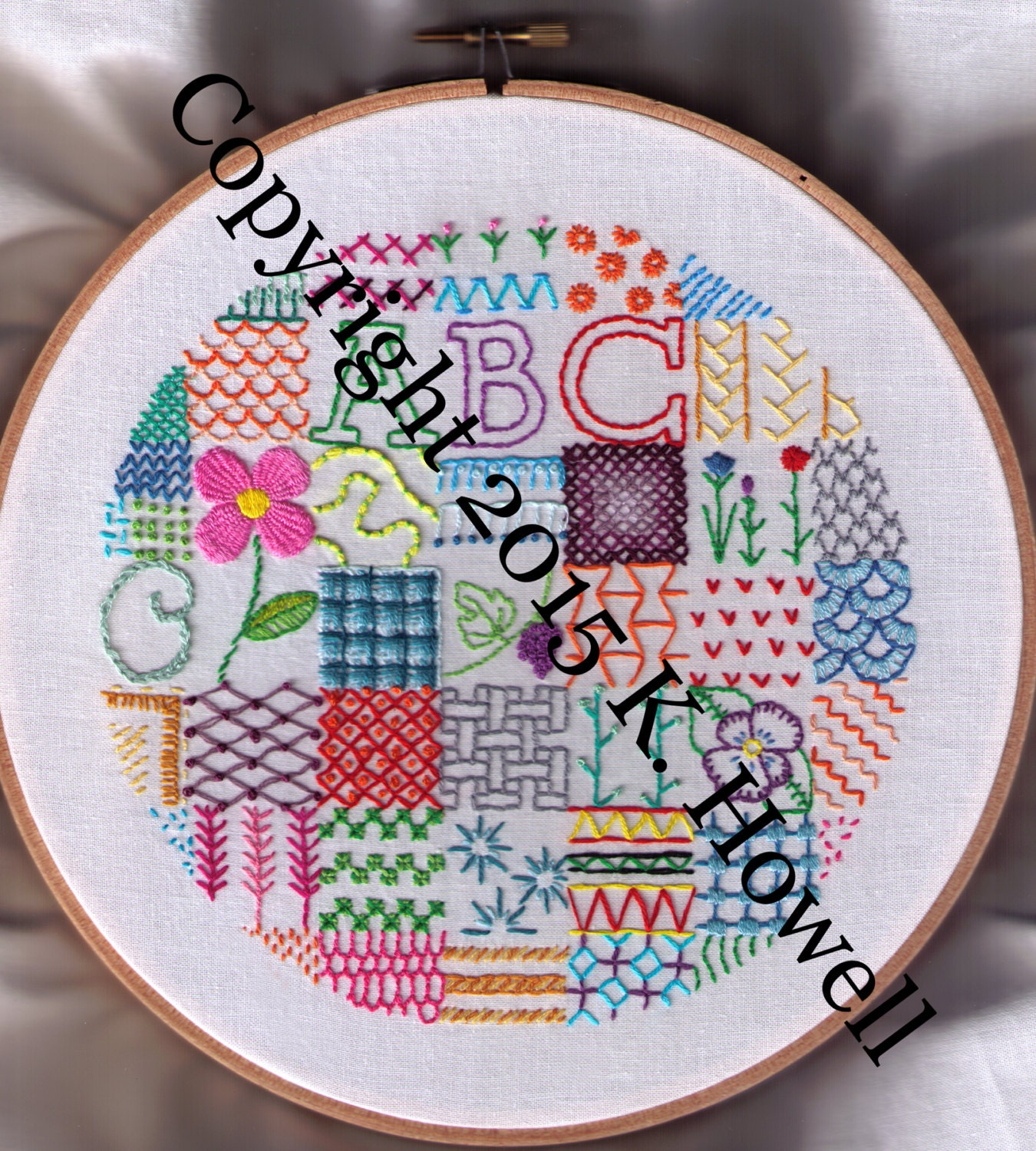Sampler hand embroidery pattern fancy stitches