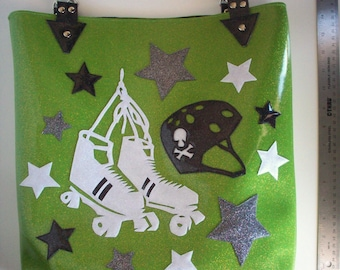 Metalflake sparkle vinyl tote bag lime green with roller skates, helmet and stars