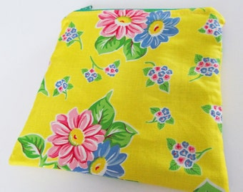 Zippered MINI WET BAG Yellow Fun Flowers - Purse sized 5.5 x 5.5 Free Shipping