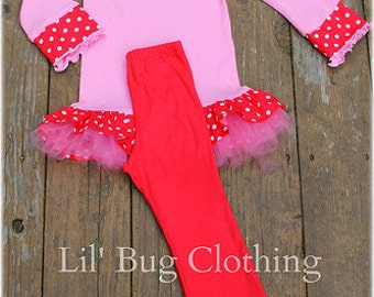 Valentines Polka Dot Pink Knit Heart Top And Leggings Custom Boutique Clothing Girl