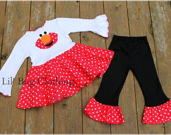 Custom Boutique Clothing Elmo Sesame Street Tiered Top and Leggings