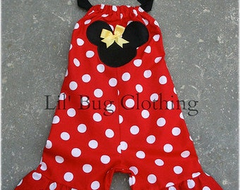 Custom Boutique Minnie Mouse 1 Piece Shortall Outfit