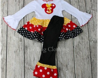 Cus Mouse Personalized Red Yellow and Black  White Polka Dot  Tiered Tee & Pant Outfit