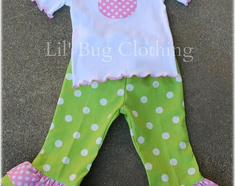 Custom Boutique Polka Dot Lime Bubble Gum Pink Minnie Mouse Tee and Pant Spring