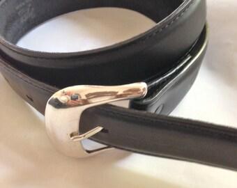 Tony Lama Black Leather Belt Size 34 Vintage 90s
