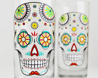 Sugar Skulls - Hand Painted Halloween Glasses - Día de Muertos - Day of the Dead Glasses