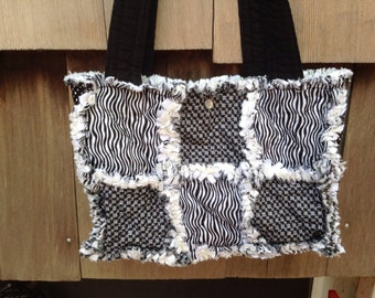 Black and white zebra print handbag tote