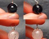 Black and White Materia Set 1 - Freestyle Silver Wire-Wrapped Rainbow Obsidian and Quartz Pendant Set