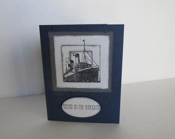Ocean Liner Ship Travel Handmade Greeting Card You're In My Thoughts